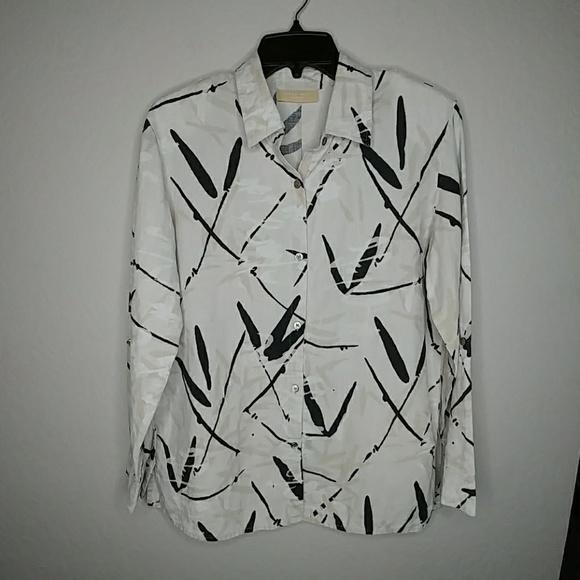 Kate Hill Tops - Kate Hill Black Tan Long Sleeve Fall Linen Shirt